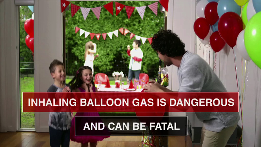 inhaling balloon helium gas is dangerous and can be fatal